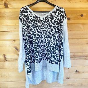 Animal leopard print tiger sweater V-neck 24 26
